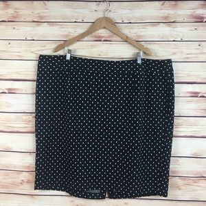 Lane Bryant Polka Dot Pencil Skirt Black White 26